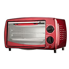 Brentwood TS-345R Stainless Steel 4 Slice Toaster Oven, Ruby Red
