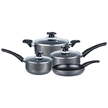Brentwood BPS-107 7-Piece Aluminum Non-Stick Cookware Set, Black