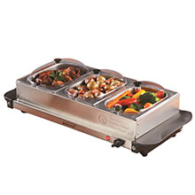 Brentwood BF-315 4.5 Quart 3 Pan Buffet Server and Warming Tray, Brushed Stainless Steel