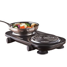 Brentwood TS-361BK 1500w Double Electric Burner, Black