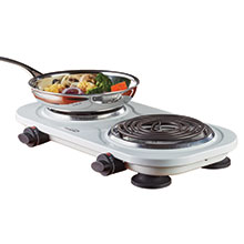 Brentwood TS-361W 1500w Double Electric Burner, White