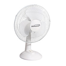 "Brentwood Kool Zone F-12DW 3-Speed 12"" Oscillating Desk Fan, White"