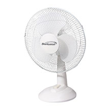 "Brentwood Kool Zone F-16DW 3-Speed 16"" Oscillating Desk Fan, White"