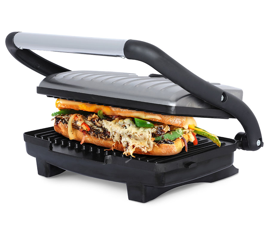 Bwood Ts 611 Compact 1000 Watt Non Stick Panini Press Sandwich Maker Stainless Steel Appliances