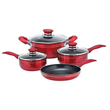 Brentwood BPS-107R 7-Piece Aluminum Non-Stick Cookware Set, Red