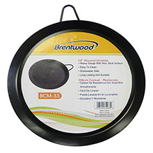 "Brentwood BCM-33 13"" Carbon Steel Non-Stick Round Comal Griddle, Black"