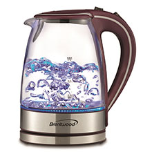 Brentwood KT-1900PR 1.7L Cordless Glass Electric Kettle, Purple