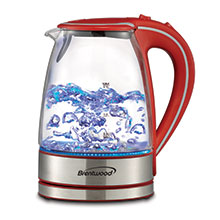 Brentwood KT-1900R 1.7L Cordless Glass Electric Kettle, Red