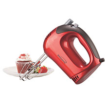 Brentwood HM-46 Lightweight 5-Speed Electric Hand Mixer, Red