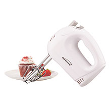 Brentwood HM-45 Lightweight 5-Speed Electric Hand Mixer, White