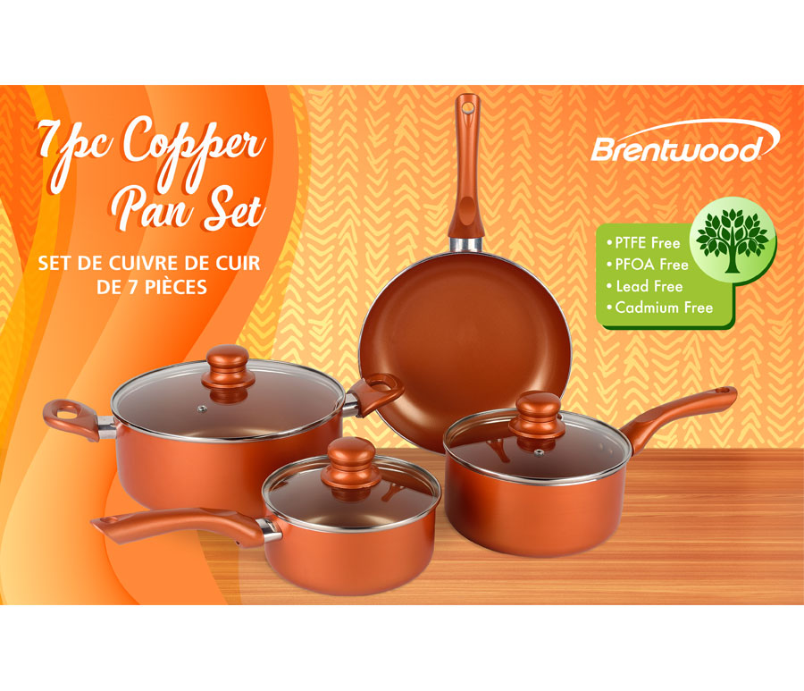 Brentwood Bps 107c 7 Piece Non Stick Copper Cookware Set