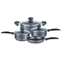 Brentwood BPS-207G 7-Piece Non-Stick Aluminum Cookware Set, Granite