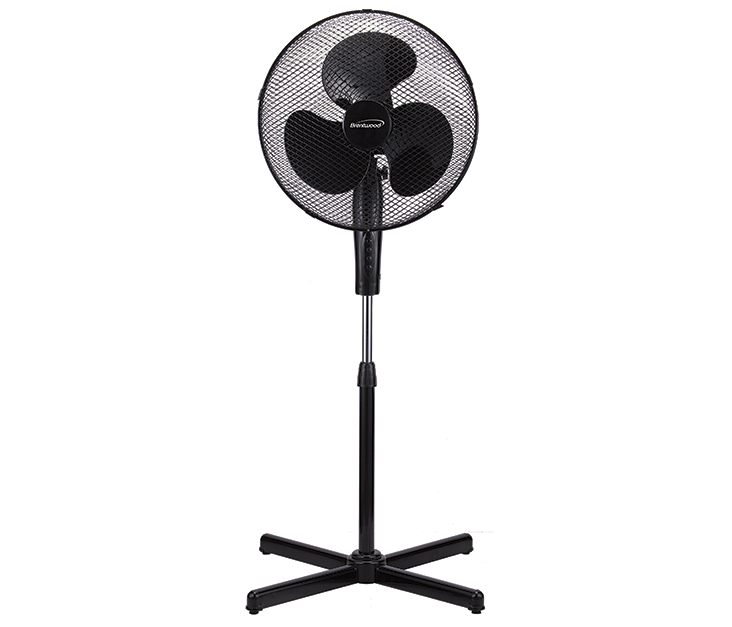 "(F-16SMB) 16"" Oscillating Stand Fan Black"