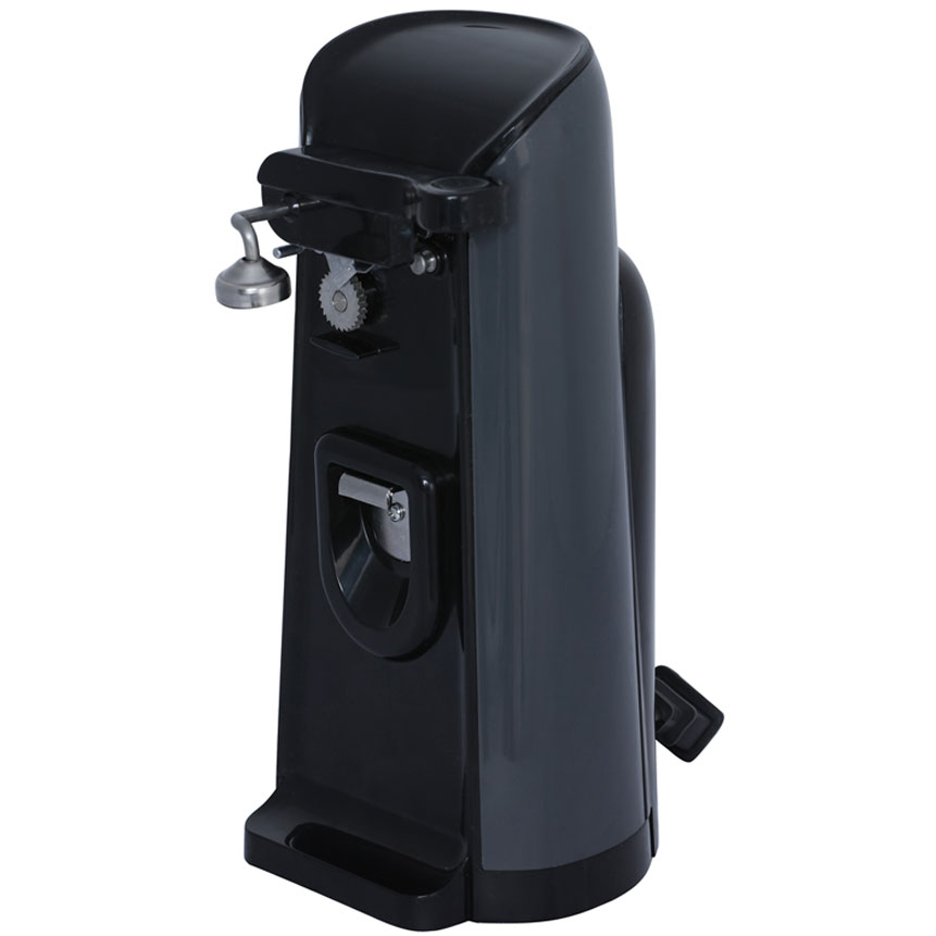 J-30B Can Opener w/ Built-in Bottle Opener & Knife Sharpener - Black