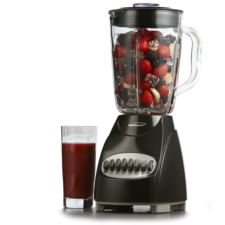 Brentwood JB-920B 12-Speed + Pulse Blender with Glass Jar, Black