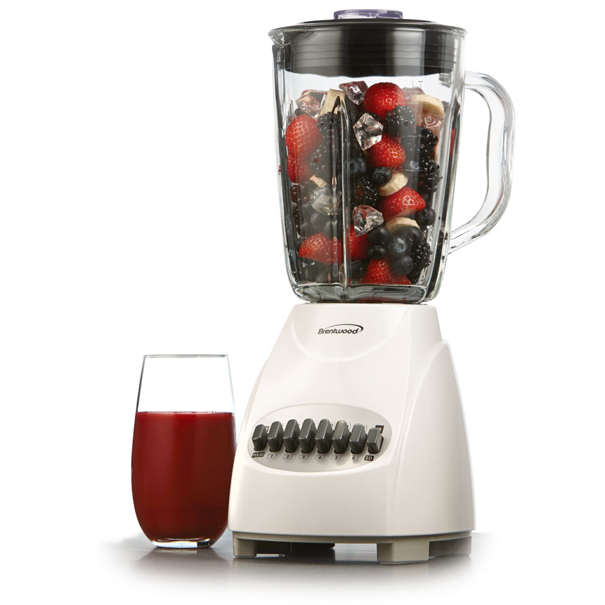 Brentwood JB-920W 12-Speed + Pulse Blender with Glass Jar, White