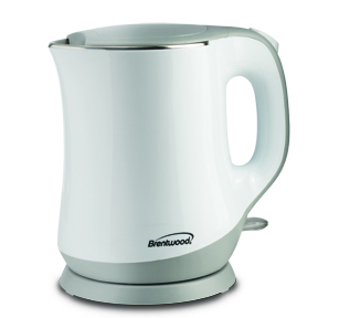 Brentwood KT-2013W 1.3L Stainless Steel Cordless Electric Kettle, White