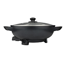 Coming Soon - Brentwood SK-69BK 13-Inch Non-Stick Flat Bottom Electric Wok Skillet with Vented Glass Lid, Black