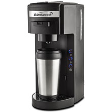 Brentwood TS-114 K-Cup® Single Serve Coffee Maker with Travel Mug, Black