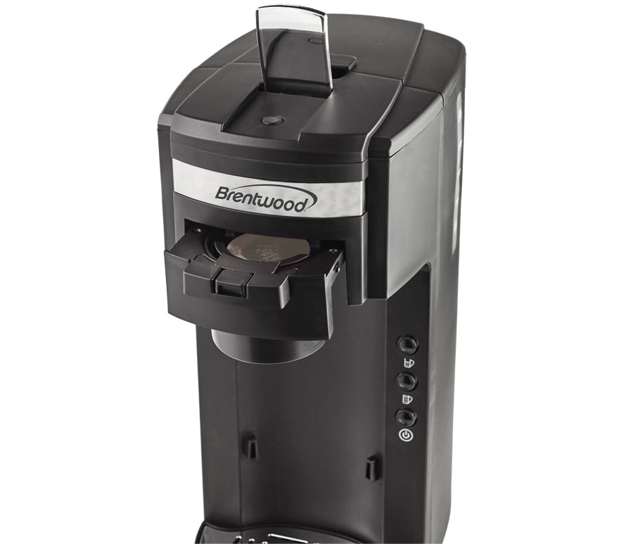 Brentwood TS-114 K-Cup Single Serve Coffee Maker with Travel Mug, Black, Brentwood Appliances