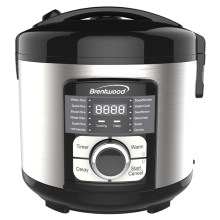 Coming Soon - Brentwood TS-1320S 12-Function Multi-Cooker - Low Carb Rice Cooker, Food Steamer, Slow Cooker, Sauté, and More, Stainless Steel