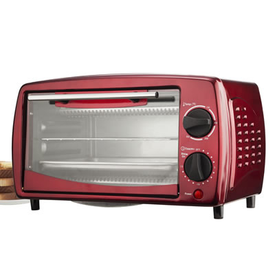 (TS-345R) 4 Slice Toaster Oven in Red