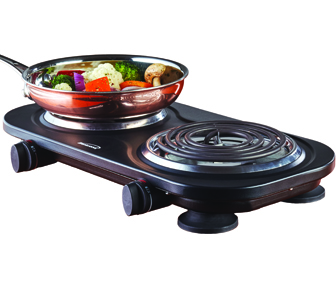 (TS-361BK) Electric 1500W Double Burner Black