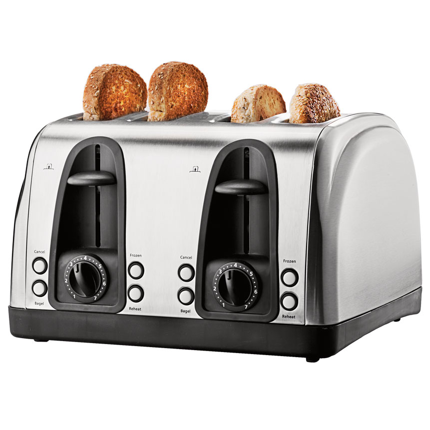 Brentwood Select TS-445S Extra Wide Slot 4 Slice Toaster, Stainless Steel