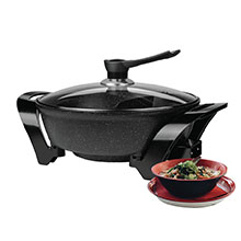 Brentwood SK-72BK Electric Non-Stick 6-Quart Shabu Shabu Pot with Divider, Black