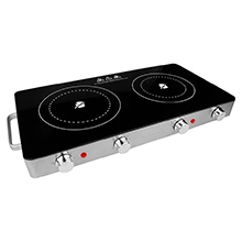 Brentwood Select TS-382 1800w Double Infrared Electric Countertop Burner with Timer, Stainless Steel