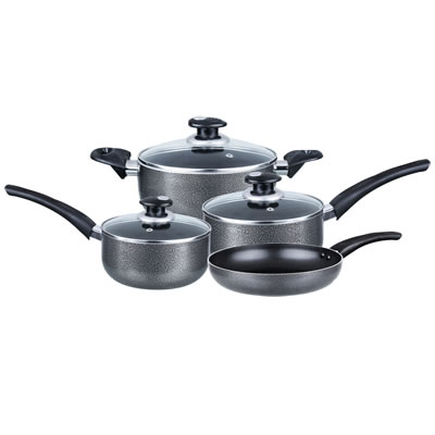 Cookware 7-Piece Aluminum Non-Stick Gray (BPS-107)
