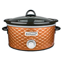 Brentwood SC-140C Scallop Pattern 4.5 Quart Slow Cooker, Copper
