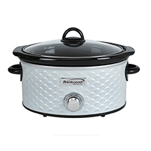 Brentwood SC-140W Scallop Pattern 4.5 Quart Slow Cooker, White