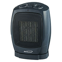 Brentwood H-C1600 1500-Watt Portable Oscillating Ceramic Space Heater and Fan, Black